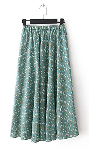 Slinky Halter Long Dress (Azue Women's Boho Floral Retro Pleated Summer Linen Skirts Midi Maxi Half Dress Green Floral Maxi)