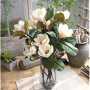 Skyseen 3PCS Artificial Magnolia Silk Flower Stem -Purple and White 16