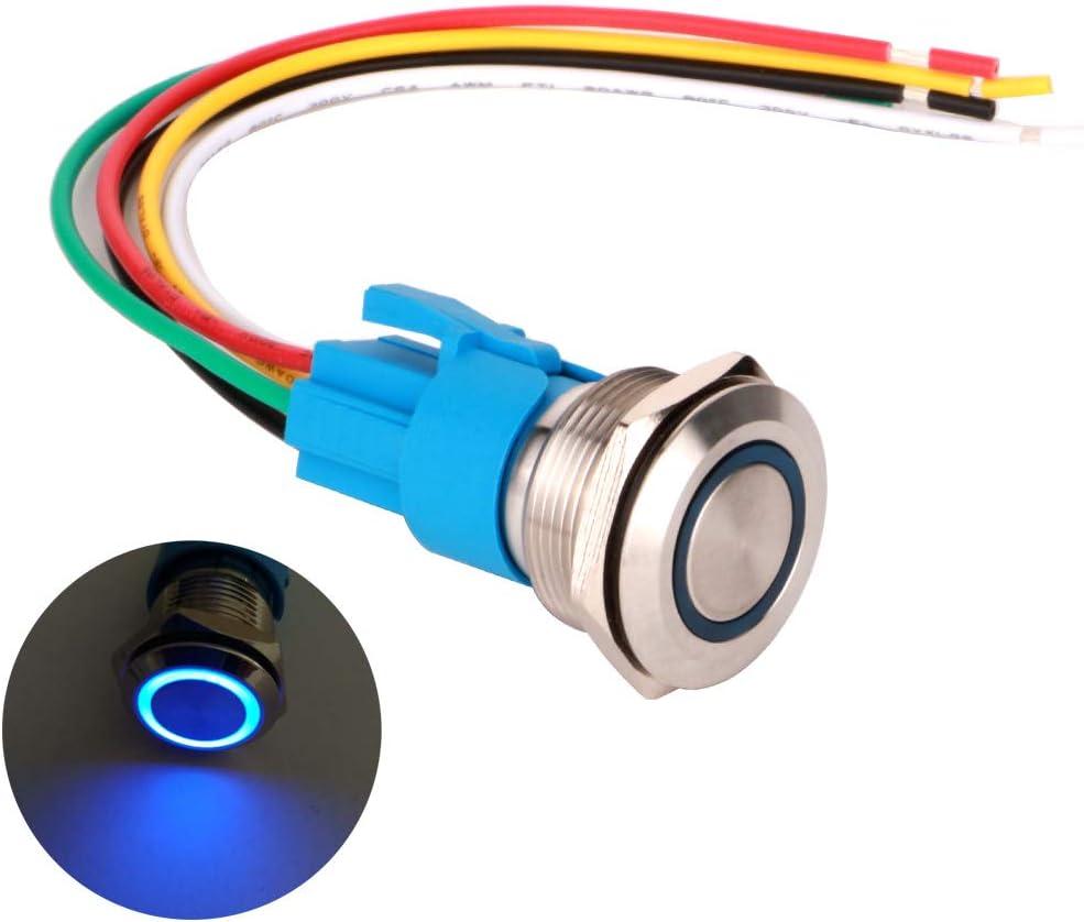 Gebildet 22mm Momentáneo Pulsador de Botón Interruptores Acero Inoxidable, Impermeable ON/Off 12V-24V 5A LED 1NO1NC SPDT Pulsador con Enchufe de Cable(LED Azul)