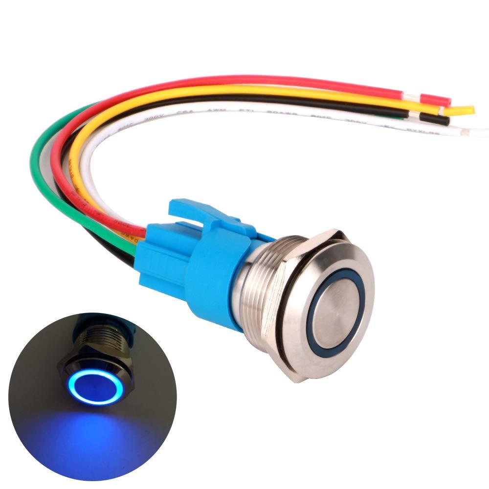 Impermeable ON//Off 12V-24V 5A LED 1NO1NC SPDT Pulsador con Enchufe de Cable LED Azul Gebildet 22mm Moment/áneo Pulsador de Bot/ón Interruptores Acero Inoxidable