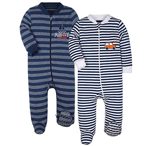 Baby Boys 2-Pack Footed Pajamas Girls Sleepers Striped Cars Rompers Toddler Kids Cotton Pjs with Non-Slipping Sole 9-12 m Moths Infant Newborn