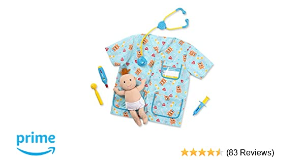 Melissa Doug Pediatric Nurse Role Play Costume Set 8 Pcs Includes Baby Doll Stethoscope