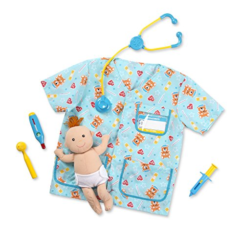 Melissa & Doug Pediatric Nurse Role Play Costume Set (8 pcs) - Includes Baby Doll, Stethoscope ()