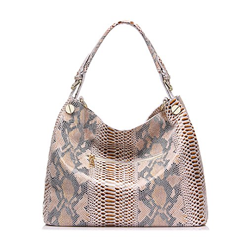 bag handbags bags tote shoulder hobos female fashion serpentine prints leather large Genuine bag Beige leather women xPpBqw6P10