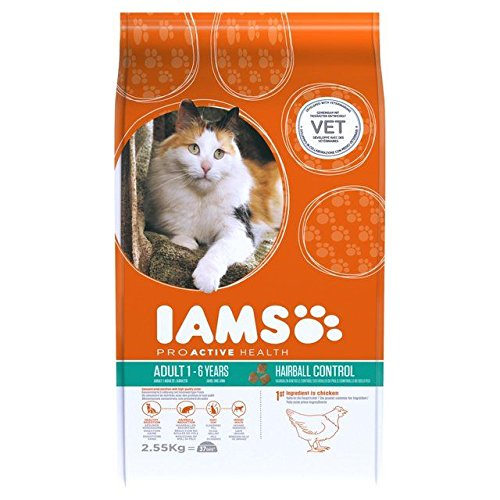 Iams Adult Dry Cat Food Hairball 2.55kg (PACK OF 6)