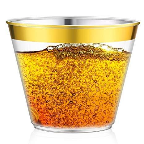 9oz Gold Rim Plastic Cups By Làmaj [50-Pack]