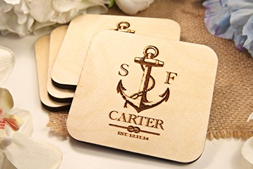 Personalized Coasters - Set of 4 - Nautical Anchor by CabanyCo