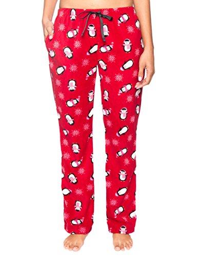 Noble Mount Twin Boat Women's Microfleece Lounge Pants - Penguins Red - (Twin Penguins)
