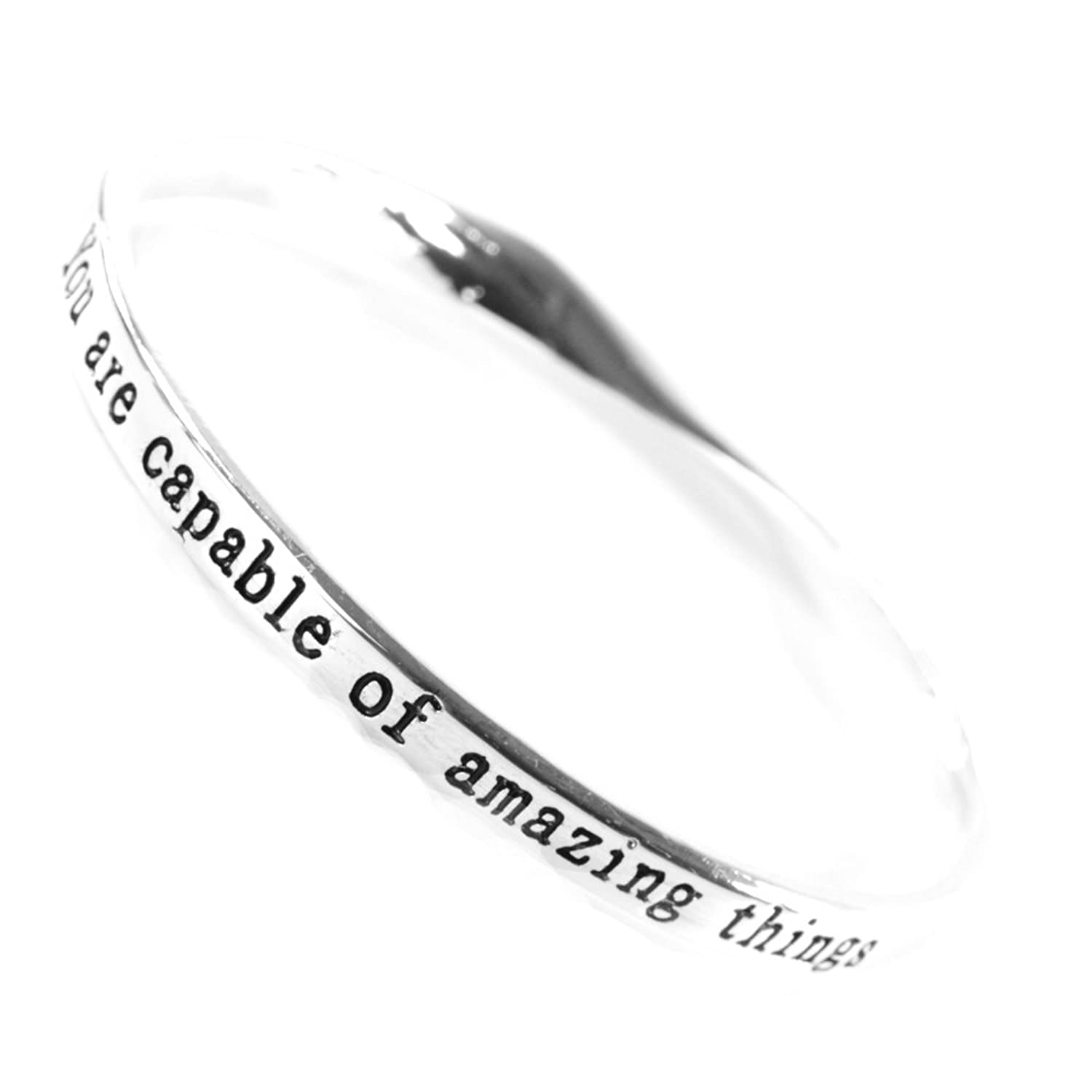 Rue B You Are Capable Of Amazing Things Inspiring Silver Quote Bangle yiDNWEdX