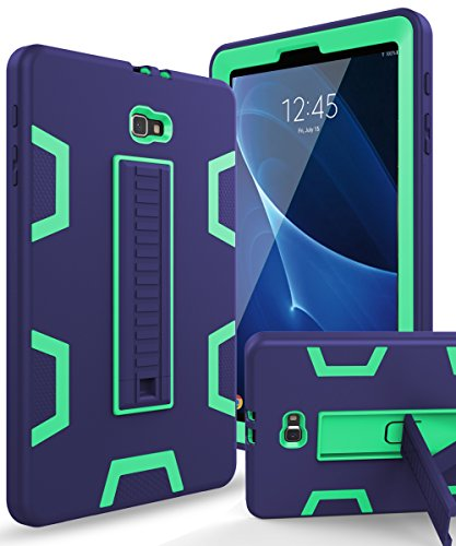 XIQI Samsung Galaxy Tab A 10.1 2016 Case, Three Layer Hybrid Rugged Heavy Duty Shockproof Anti-Slip Case Full Body Protection Cover for Tablet SM-T580/T-585,Navy Blue/Mint