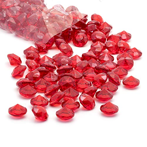 Acrylic Diamonds Gems Crystal Rocks for Vase Fillers, Party Table Scatter, Wedding, Photography, Party Decoration, Crafts by Royal Imports, 1 LB (Approx 140-160 gems) - Red ()