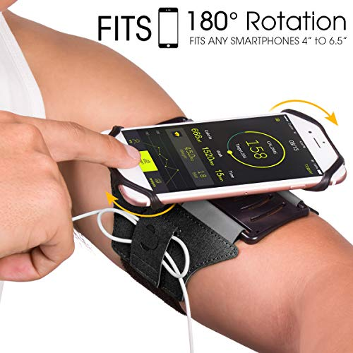 VUP Running Armband for iPhone X/ iPhone 8 Plus/ 8/ 7 Plus/ 6 Plus/ 6, Galaxy S8/ S8 Plus/ S7 Edge, Note 8 5, Google Pixel, 180° Rotatable with Key Holder Phone Armband for Hiking Biking Walking]()