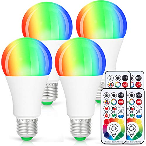 LED Light Bulbs, 4 Pack Dimmable E26 LED Light Bulb, 10W RGBW Color Changing Light Bulb with Remote Control, Decorative Lights, Mood Light Bulb, Great for Home Decor, Stage, Party and More