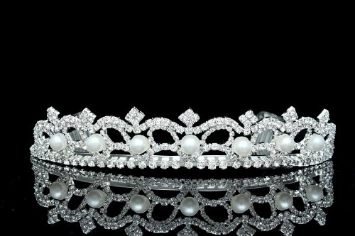Bridal Rhinestone Crystal Pearl Prom Wedding Tiara Crown T222