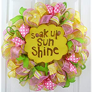 Mother's Day Gift | Spring Sunshine Flower Everyday Deco Mesh Door Wreath | Yellow Pink Green 25