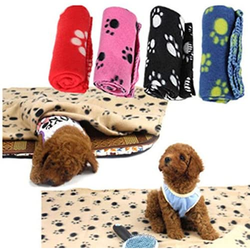 Couverture en polaire douce pour les petits chiens ou les chats, tapis qui tient chaud pour les petits animaux en hiver, un cadeau indispensable pour un hiver bien au chaud - 60 x 70 cm, Noir