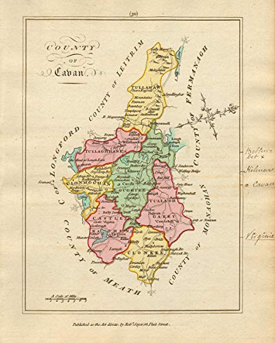 Map Of Ireland Cavan.Amazon Com County Of Cavan Ulster Antique Copperplate Map By