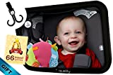Baby backseat mirror for car - view infant in rear facing car seat Baby car mirror for back seat Baby car mirror rear facing - X-Large - Crash Tested 2 Free Gifts!!
