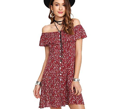 Thin Women or Juniors Summer Dress/Shirt Off Shoulder Fit Comfy Floral Casual Dresses Mini Dress Ladies Beach Party Dresses
