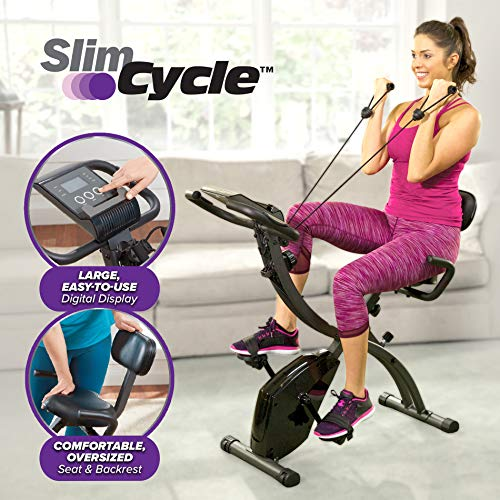Slim Cycle 2-in-1 Stationary Bike - Folding Indoor Exercise Bike with Arm Resistance Bands and Heart Monitor - Perfect Home Exercise Machine for Cardio