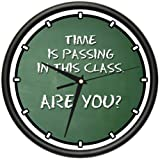 TEACHER TIME IS PASSING Wall Clock classroom chalkboard lessons gag gift
