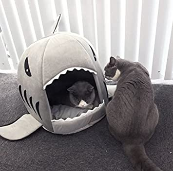 BADASS SHARKS Hai Motive Hundehütte Hundebett Hundekörbchen Katzenbett Mit  Kissen Hundehaus Haustier Schlafsack Für Drinnen
