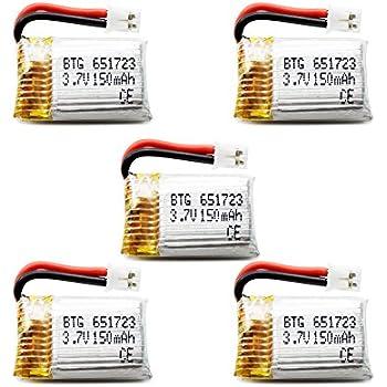 BTG 3.7V 150mAh Lipo Battery for JJRC H36 Eachine E010 Mini UFO Quadcopter Drone-pack of 5
