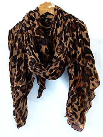 Product Features scarf with leopard and zebra animal print pattern, elegant with.