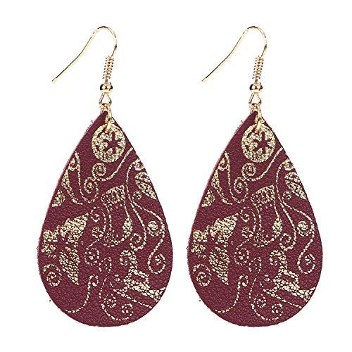 Eran Fashions Women's Real Genuine Leather Earrings Gold Foil Teardrop Dangle Earrings (Wine Red)