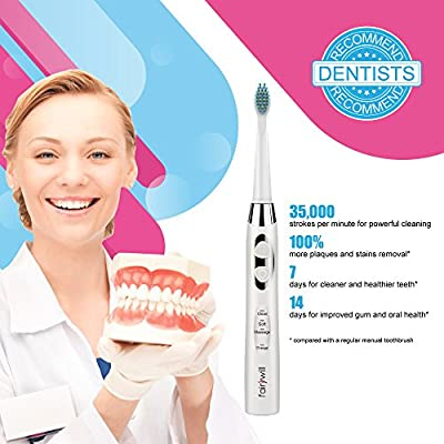 Sonic Toothbrush Clean as Dentist Rechargeable Electric Toothbrush 4 Hours Charge Minimum 30 Days Use 3 Modes Waterproof 3 Replacement Heads with Smart Timer White by Fairywill