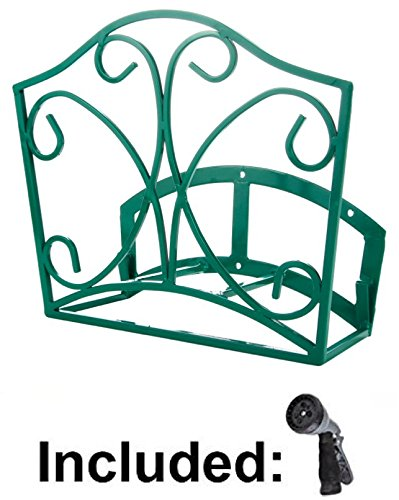 Garden Hose Holder   Decorative Green Wall Mount Hanger Rack Including  Spray Nozzle