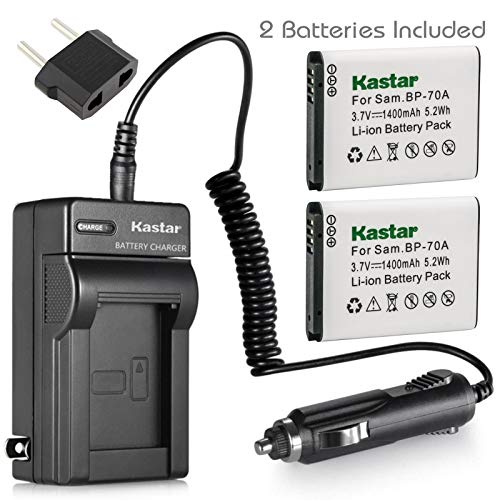 70a Battery Charger - Kastar Battery 2x & Travel Charger for Samsung BP-70A BP70A ST95 ST100 ST150F ST700 ST6500 SL50 SL600 SL605 SL630 WB30F WB35F WB50F ES70 ES80 MV800 DV150F PL20 PL80 PL120 PL170 PL200 TL105 TL110 TL205