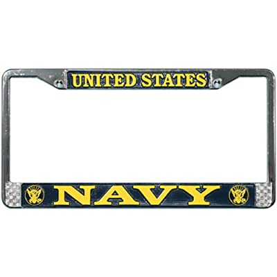 US Navy License Plate Frame (Chrome Metal): Automotive
