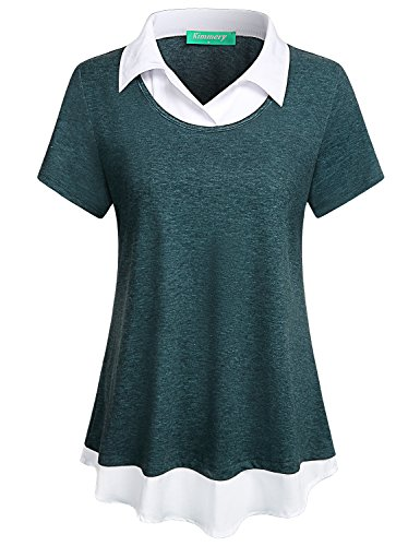 Business Casual Clothes for Women,Kimmery Teens Stylish Blouses Short Sleeve Trendy Collar Tunics Cool Shirtail Hem Great Compliments Designer High Impressions Summer Dressy Tops for Girl Green - Stylish High Collar