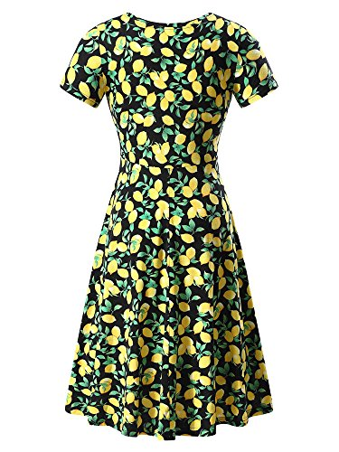 Midi Floral Neck HUHOT Summer Sleeve Flared Dress Casual 26 Women Short Round OqwqvHW81S
