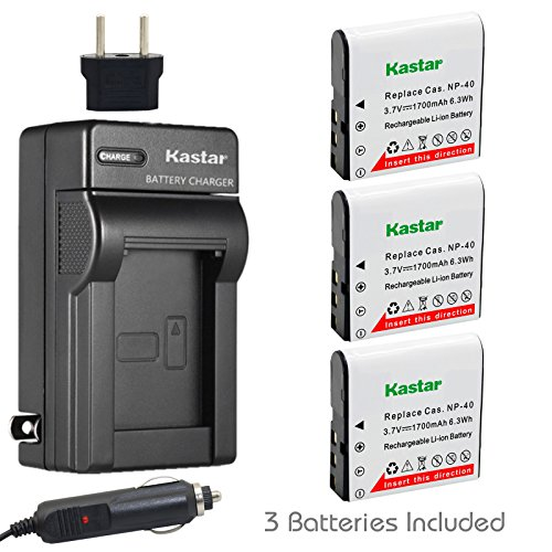 Kastar 3x Battery + Charger for Casio NP-40 LB-060 & Casio Exilim EX-Z1000 EX-Z1050 EX-Z1080 EX-Z1200 EX-Z700 EX-Z750 EX-Z850 EX-FC100 FC150 FC160S Z400 PRO P505 P600 P700 ZOOM Z100 Z1000 XG-1 ()