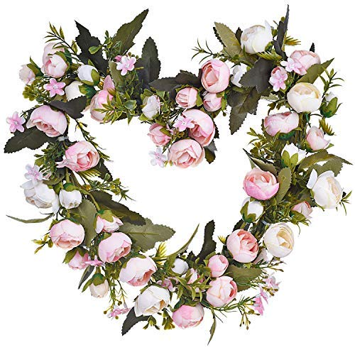 Lvydec Artificial Rose Flower Wreath, Heart-Shaped Fake Rose Floral Wreath with Pink and White Roses for Wedding Front Door Wall Party Home Décor