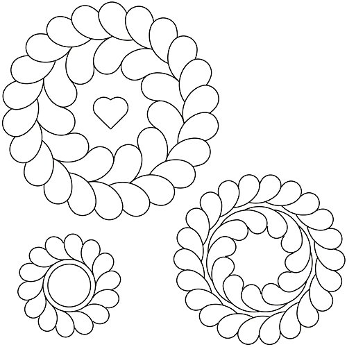 Quilting Creations SP1003 Feather Circles Quilting Stencil Set, 7