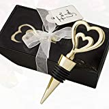 34 Gold Double Heart Design All Metal Bottle Stoppers
