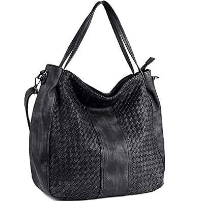 WISHESGEM Women Handbags Top-Handle Fashion Hobo Tote Bags PU Leather Shoulder Satchel Bags Black