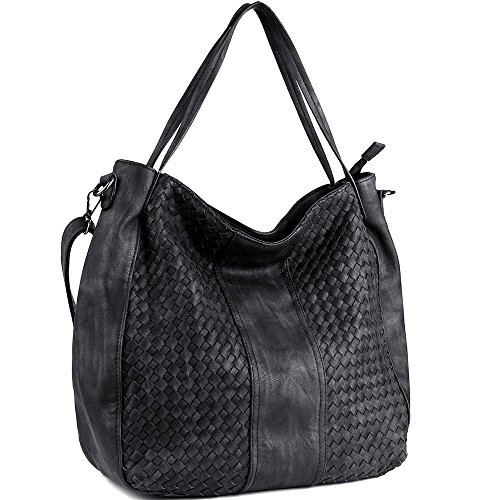 - WISHESGEM Women Handbags Top-Handle Fashion Hobo Tote Bags PU Leather Shoulder Satchel Bags Black