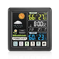 GBlife Weather Stations Wireless Indoor Outdoor, Digital Thermometer with Remote Sensor, Weather Forecast Station with Color LCD Display, Touch Screen Control, USB Port, Alarm Clock