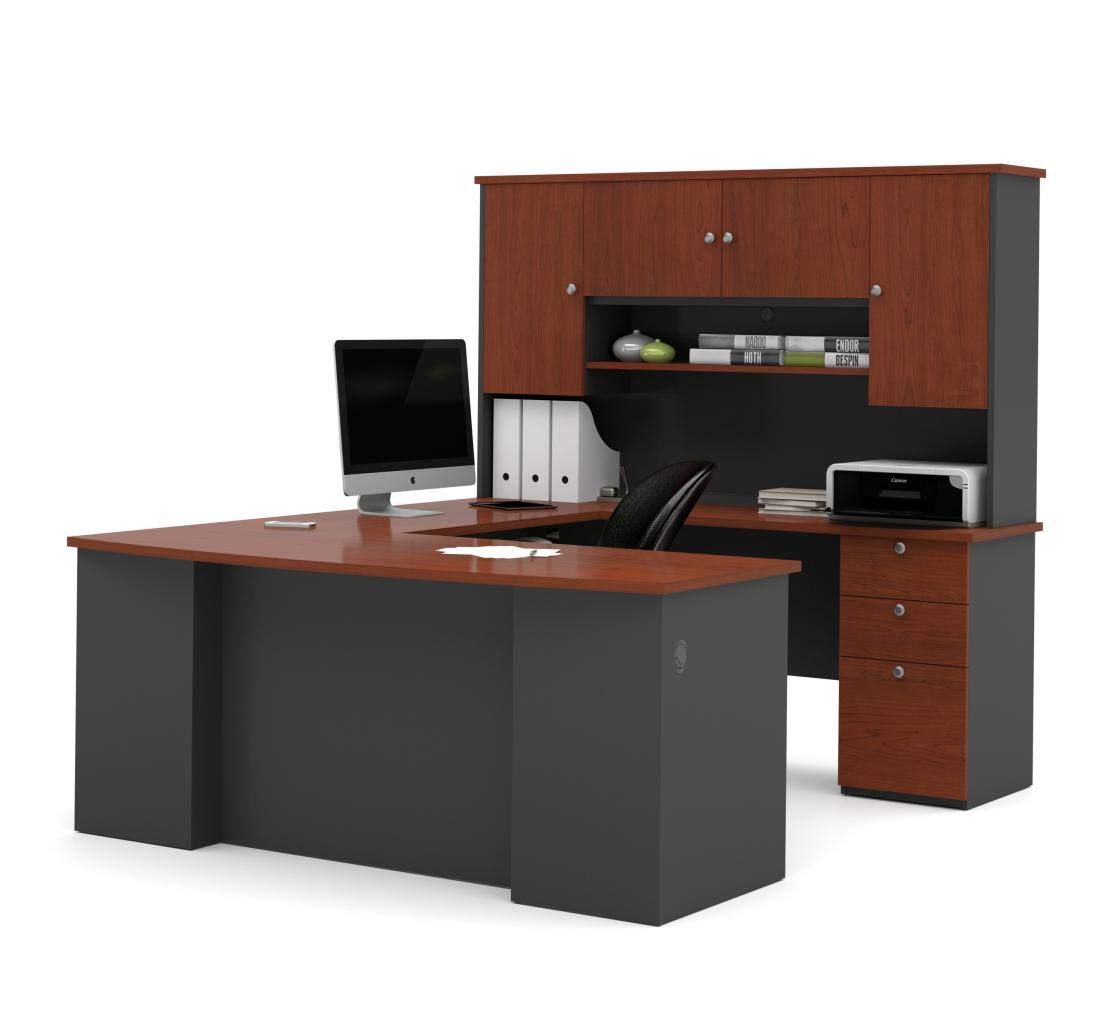 Bestar 3-Piece Set Including a U-Shaped Desk with Hutch, a lateral File Cabinet, and a Bookcase - Manhattan by Bestar