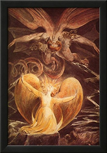 William Blake (The great red dragon and the woman clothed with the sun) Art Poster Print Framed Poster 15 x 21in (Sun Framed)
