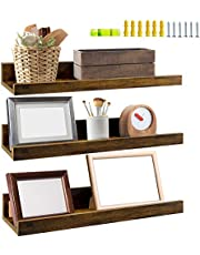 Giftgarden 16 Inch Floating Shelves for Wall Set of 3, Rustic Wall Mounted Picture Ledge Small Wall Shelf for Bedroom Bathroom Living Room Kitchen, 3 Different Sizes