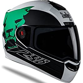 Steelbird Air- Beast Matt Finish with Smoke Visor (Medium 580MM, Matt White with Green)
