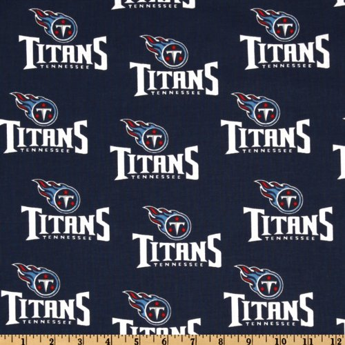 Fabric Traditions NFL Cotton Broadcloth Tennessee Titans Navy/White Fabric by The Yard,