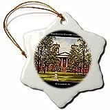 3dRose orn_61753_1 Main Building, Wofford College, Spartanburg, SC Vintage Snowflake Porcelain Ornament, 3-Inch