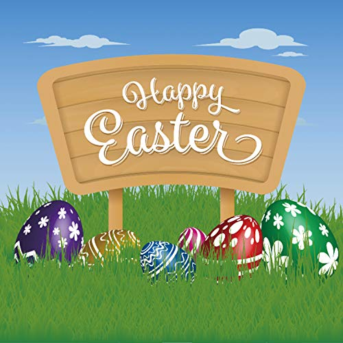 Leyiyi 7x7ft Photography Background Happy Easter Day Backdrop Colored Eggs Spring Holiday Cartoon Signboard Rustic Western Party Invitation Grassland Revive Jesus Photo Portrait Vinyl Studio Prop