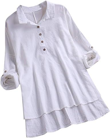 Camisas Mujer Blusa con Botones Camisetas Manga Larga Sexy Tops Color Sólido Cuello en V Low Cut Sexy Camisetas y Tops Camisas De Vestir Blusas para Mujer 2019 Verano Elegantes BuyO: Amazon.es: